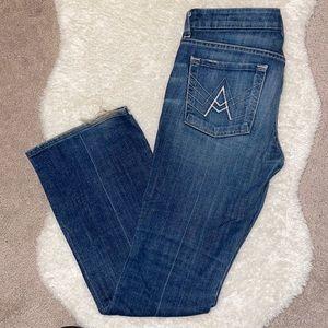 "7 for all mankind boot cut jeans size 28 medium/dark wash white stitch""A"" pocket"